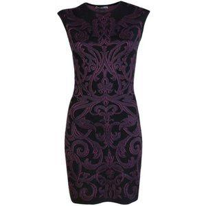 Alexander McQueen Paisley Purple Knit Mini Dress